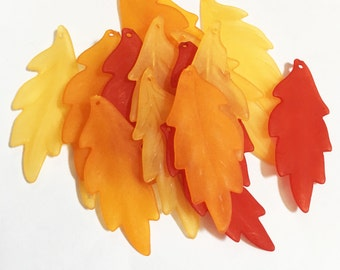 100 pcs of Frosted Acrylic leaf drops 43x17mm , Assorted Autumn leaves color