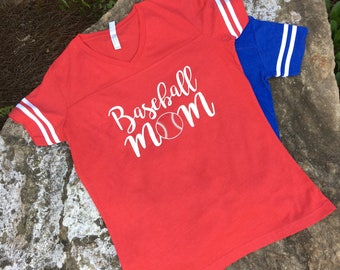 Baseball Mom Jersey Tee- Jersey t shirt - Red or Royal Blue other colors can be available