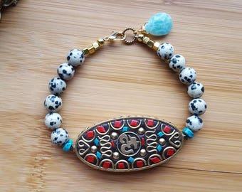 OHM Bracelet, Dalmatian Jasper Bracelet, Gemstone Bracelet, Tibetan Bracelet, Statement Bracelet, Yoga bracelet, Beaded Bracelet, Boho