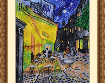 Cafe Terrace by Van Gogh Cross Stitch Pattern PDF Chart Famous Paintings Modern Art