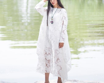 Womens Summer Loose Fitting Hollow Floral Embroidered Cotton Long Dresses, Womens Loose Fitting Embroidered Casual Dresses, White Dresses