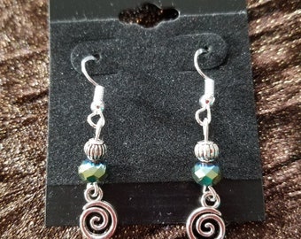 Green Crystal Spiral Earrings