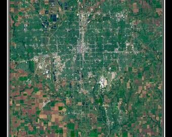 Wichita Kansas Satellite Poster Map