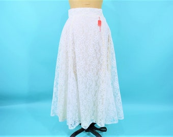"""1980s lace skirt   cream high waist lace a line deadstock skirt   vintage 80s skirt   W 25.5"""""""