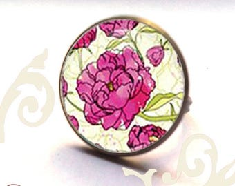adjustable flower ring rose bronze metal