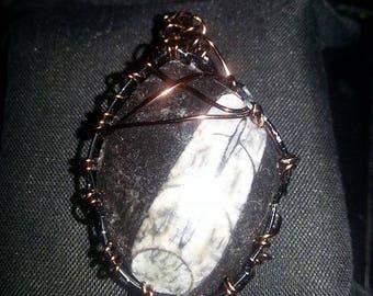 OOAK Handmade wire wrapped orthoceras fossil gemstone pendant