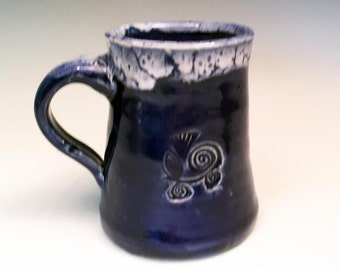 Cobalt Blue Coffee Mug in Hand Thrown Stoneware