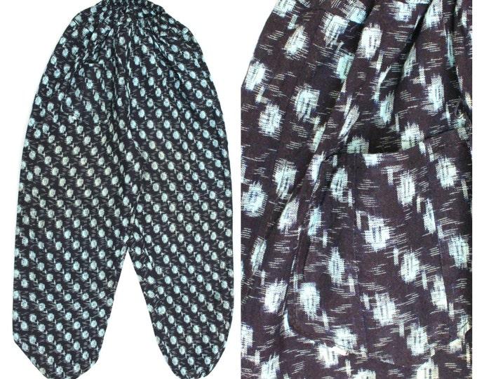Monpe Pants, Japanese Kasuri Ikat Farming Wear - Vintage Noragi (Ref: 1166)