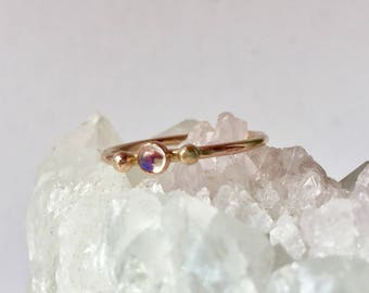 blue rainbow moonstone engagement ring, solid gold dainty stack ring, moonstone jewelry, gold promise ring, gold bead, moonstone wedding
