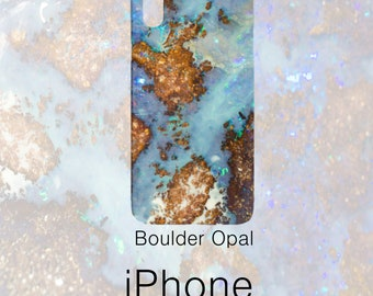 Boulder Opal Pattern Phone Case, Mineral Rock Print, Rockhound stone gift, iPhone X, 7/8 P, 7/8, 6/6s P, 6/6s, Galaxy S7, S7 Edge, S8
