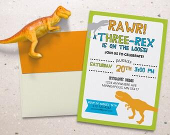 Dinosaur Birthday Invitation. Kids Birthday Party. T-hree Rex for third birthday. Personalized - Digital / Printable File
