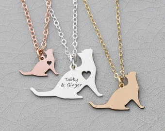 Kitten Necklace • Kitty Jewelry • Cat Pendant New Pet Engraving • Jewelry Animal Lover Cat Mom • Personalized Pet Necklace
