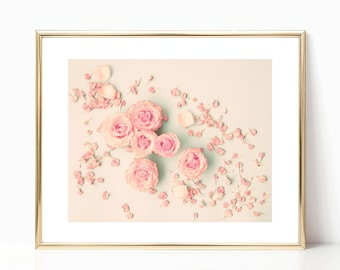 Extra large wall art canvas art, blush pink wall art, blush pink decor, canvas wall art, spring decor, framed wall art, flower, coral, pink