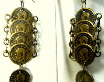 Gold Coin Dangle Earrings, 1917 Repro coins,  Pirate Gypsy Medieval Warrior, Chandeliers,  Classic Style, Thrones Game Armor