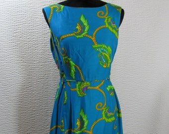 Vintage Hawaiian Dress Womens 60s Ja-Na Hawaii Long Maxi Blue Floral Ja-Na Hawai Simply Marvelous
