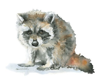 Raccoon Watercolor Painting Print Giclee - 14 x 11 - Nursery Art - Baby Animal