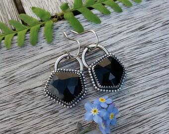sterling silver rose cut black onyx earrings - silver earrings - onyx earrings - gemstone earrings - black earrings