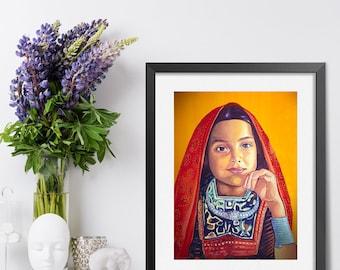 Indian Girl watercolor print