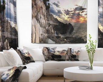 Designart Adiratic Sunset Landscape Photography Wall Tapestry, Wall Art Fit for Wall Hanging, Dorm, Home Decor