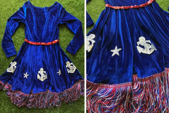 Red Anchor Line Velvet Dress Costume Naval Circle Sailor Blue Patriotic S Sequined Navy Silver USA Metallic Long Sleeve A Fringe White Star dA7qdF