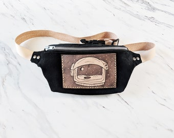 Space Leather Fanny Pack Leather hip bag Festival Accessories gift for her