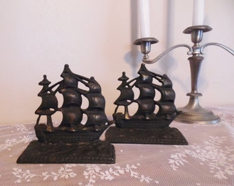 Cast Iron U.S.S. Constitution Bookends Colonial War Ship 17th Century Decor Clipper Ship Old Ironsides Warship US Navy American History