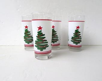 Mid Century Barware 4 Vintage Squiggle Christmas Tree Tumblers - Highball Glasses - Painterly Christmas Tree - Holiday - Christmas Glasses