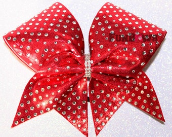 Beautiful Red Rhinestone Cheer bow by FunBows !!!! - Customize this in your color!
