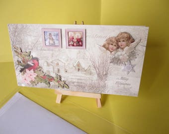 Card 3D (relief) with 2 cherubs and Robin snowy landscape
