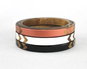 Janelle Skinny Bangle Set/ Wood Bracelet Trio/ Stacked Bangles/ Painted Chevron Design/ Black/ White/ Copper/ xs-xl