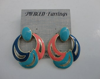 VINTAGE turquoise blue coral dangle POST EARRINGS
