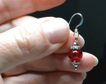 The perfect simple, elegant Red earrings on Sterling Silver Fish Hook Ear wires.