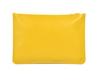 Coralie - Handmade Mustard Yellow Leather Clutch Bag Zip Pouch Purse SS18