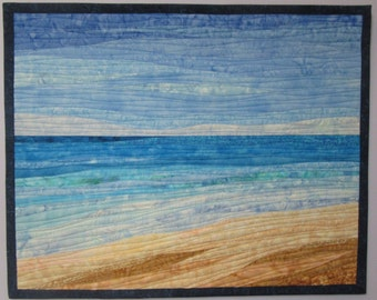 Art Quilt Ocean with Dunes 12, Wall Hanging, Nature Art Quilts