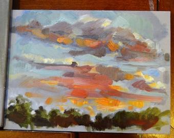 """6"""" x 8"""" original oil sunset painting landscape"""