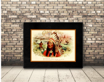 Indian Chief Poster from a Vintage Cigar Box Ad of the Southwest. Clip Art Digital Download Native American Image for Wall Art or Home Decor