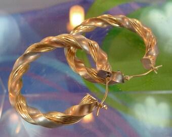 Earrings (Hoop) Large Sterling Silver & 14K Gold Signed JJT Twisted Hoops  (88165)