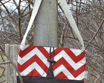 Red Chevron Crossbody Bag, Handbag