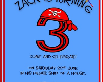 Printed Personalised Pirate Birthday Party Invitations x10