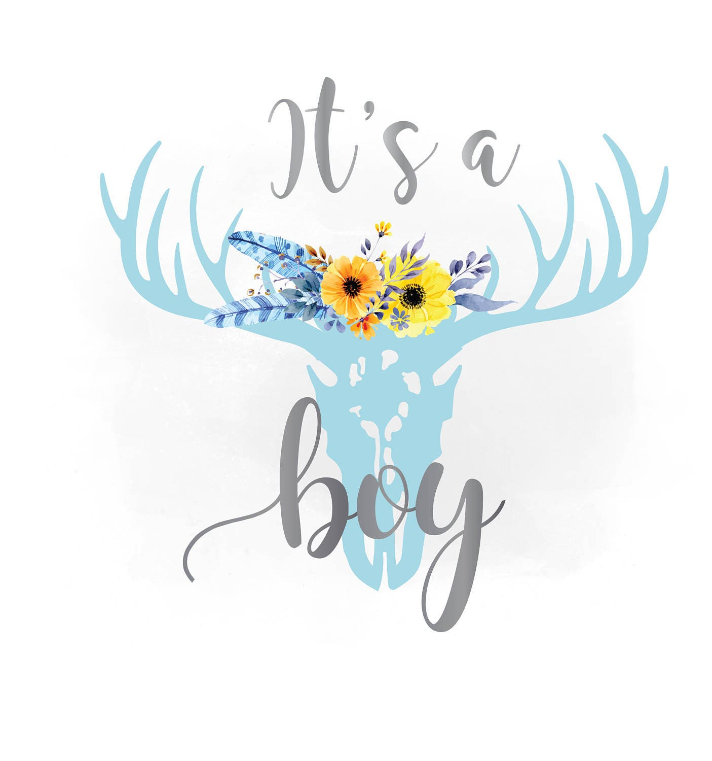 its a boy svg clipartfloral antlers clipart baby boy bedroom rh etsy com it's a boy banner clipart it's a boy baby shower clipart