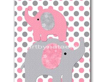 Kids Wall Art Elephant Nursery Baby Nursery Decor Baby Girl Nursery Kids Art Baby Room Decor Nursery Print Girl Print Rose Gray Pink