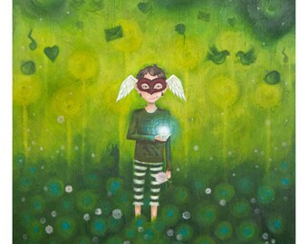 In Life, Maybe I'm Amazed - masked character - life and love - green woods - forest - druid - fairytale - heart mask