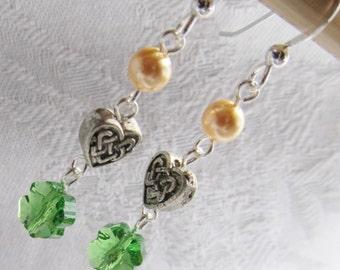 Celtic Heart and Swarovski Shamrock Earrings