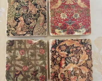 Classic Coaster Set - Featuring Four William Morris Designs - Great Gift for Arts & Crafts Style Fans