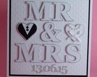 Mr & Mrs Wedding Handmade Wedding Card Personalised with Wedding Date, personalised wedding card, bride and groom card, wedding day keepsake