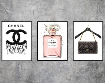 Set of 3 Chanel illustrations, chanel art, chanel print, fashion illustration, fashion wall art, fashion print, fashion poster