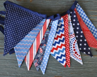 Red, White & Blue Patriotic fabric flags pennant banner bunting, 4th of July decoration, photo prop