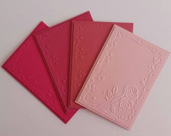 ROSE CARDS set of cards pink cards all occasion card embossed thank you get well sympathy happy birthday pink rose card flower cards 4 cards