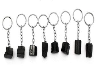 Tourmaline Stone Silver Toned Key Chain - Natural Black Tourmaline Keychain RK45B3b