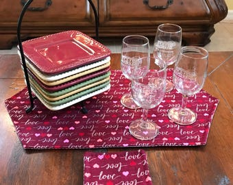 Valentines love quilted table runner and set of 4 quilted mug rugs